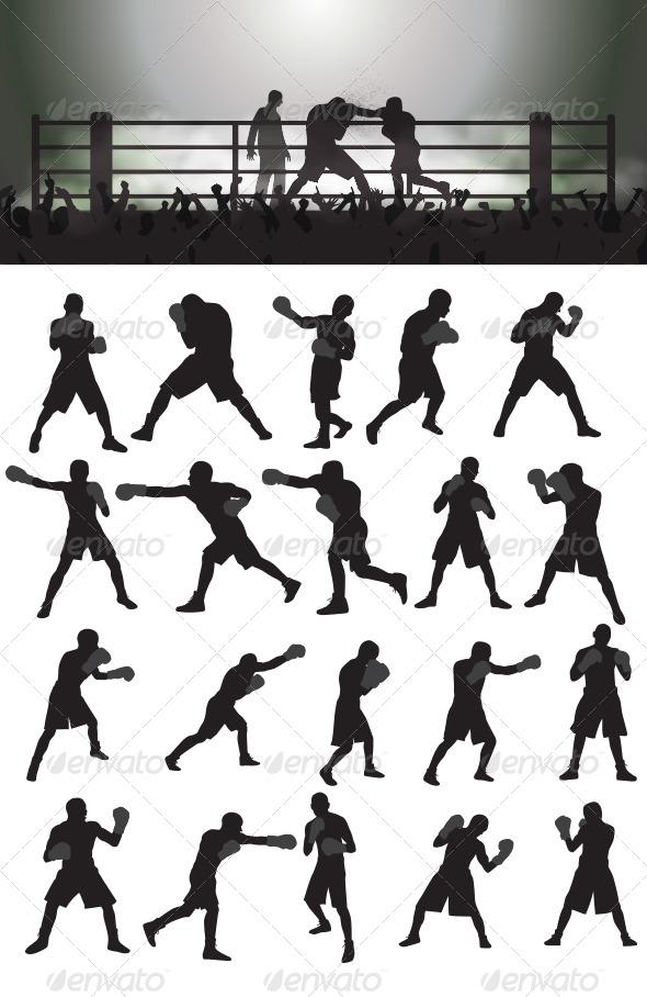 GraphicRiver Boxing Silhouettes 4044033