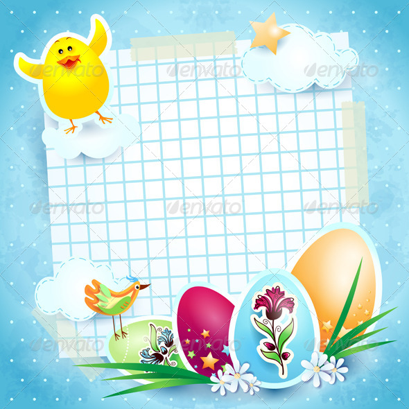 GraphicRiver Easter Background with Chick 4045166