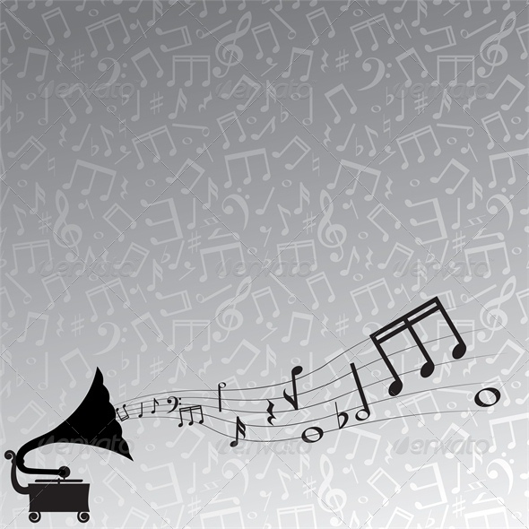 GraphicRiver gramophone and melody gray background 4046066