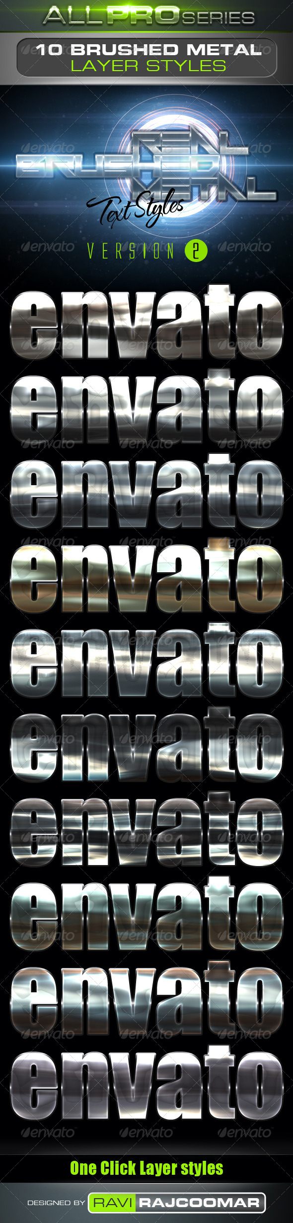 GraphicRiver Real Brushed Metal Text Styles Vol.2 4046709