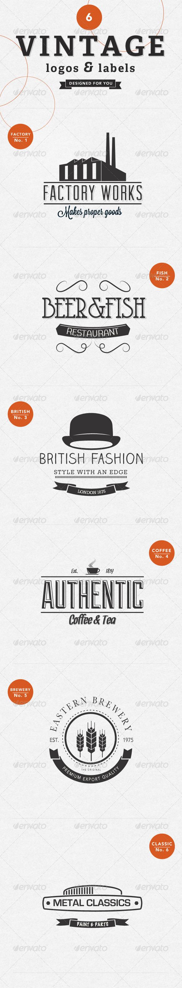 GraphicRiver 6 Vintage Labels Badges & Logos 4054631