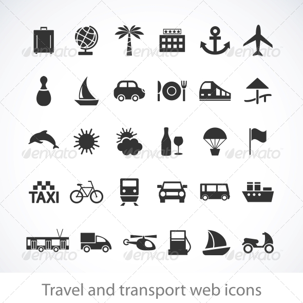 GraphicRiver Travel and transport web icons 4055667