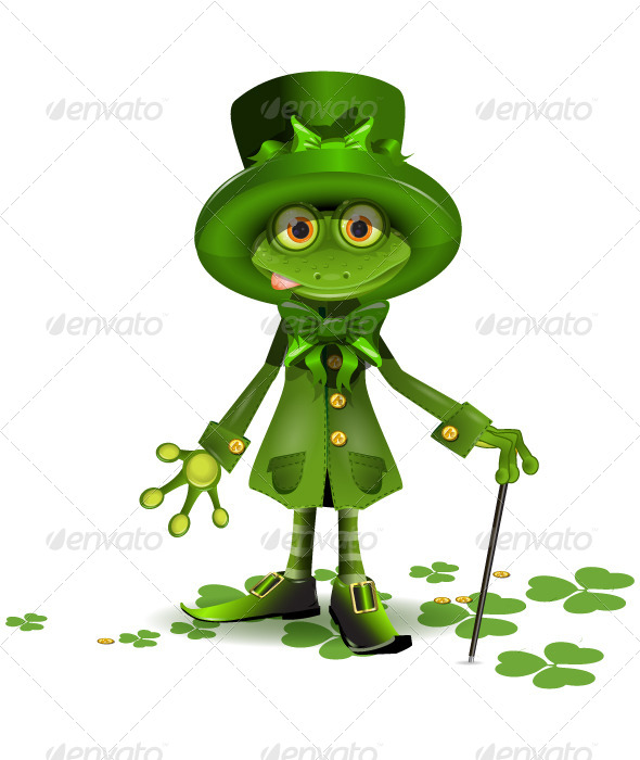 GraphicRiver frog in a suit of Santa Patrick 4055823