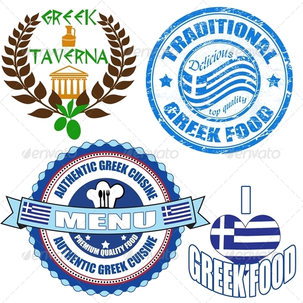 GraphicRiver Set of authentic greek food stamp and labels 4057439