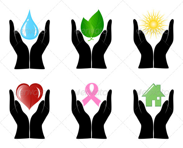 GraphicRiver Set of Environment Icons with Human Hands 4058413