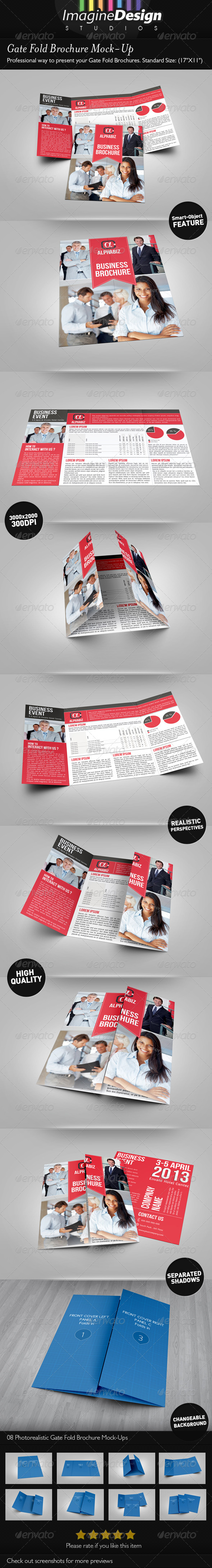 GraphicRiver Gate Fold Brochure Mock-Up 4065652