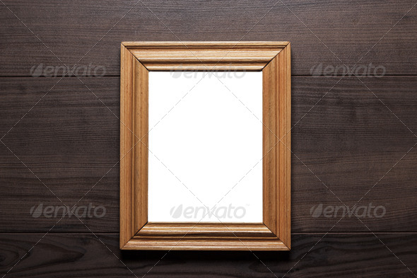 PhotoDune Empty Frame With Copy Space On Wooden Wall 4125195