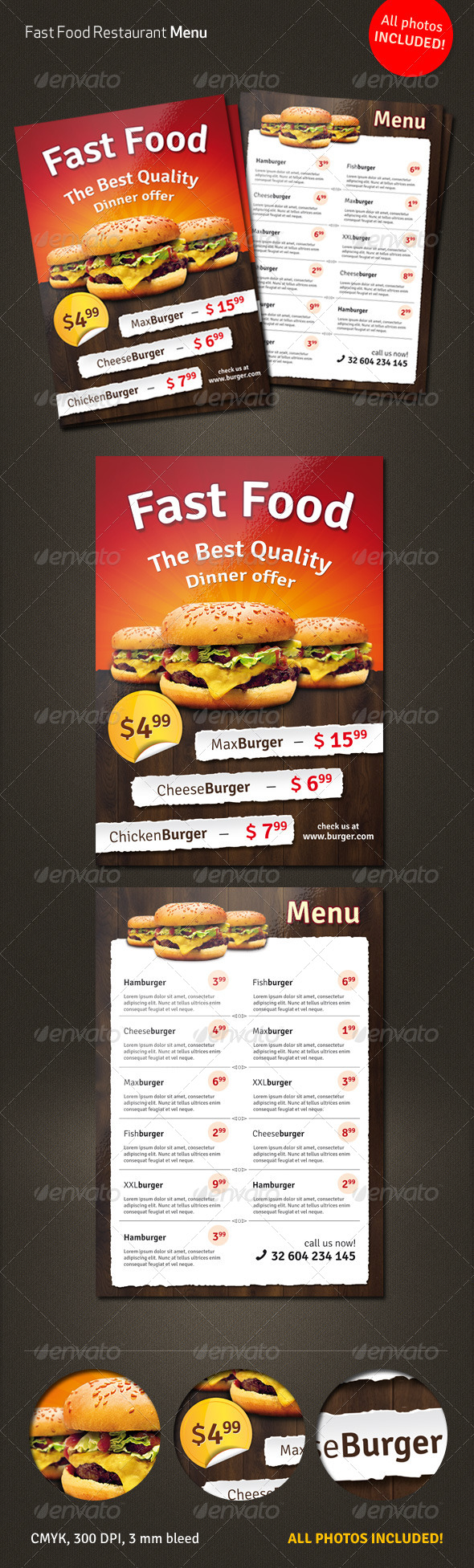 GraphicRiver Fast Food Menu Flyer 4068549