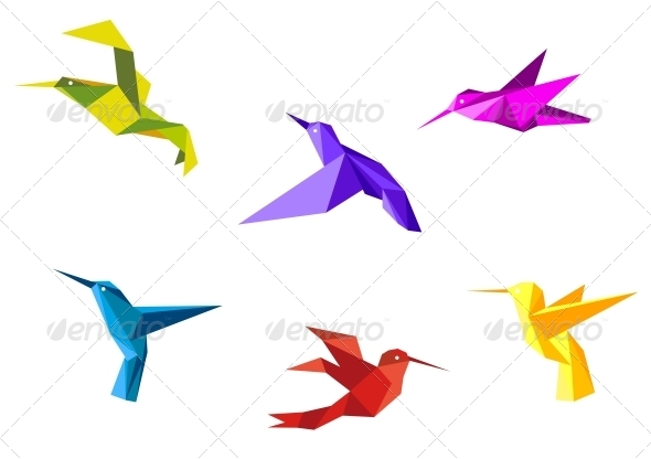 GraphicRiver Doves and hummingbirds 4071335