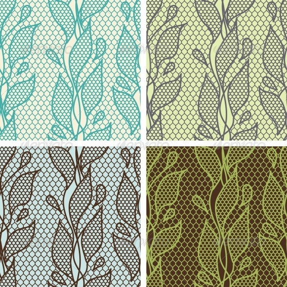 GraphicRiver Lace Fabric Seamless Patterns 4072894