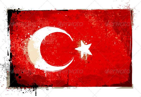 GraphicRiver Grungy Turkey flag 4073102