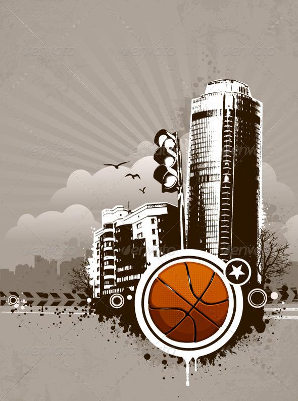 GraphicRiver Grunge Urban Basketball Background 4073611