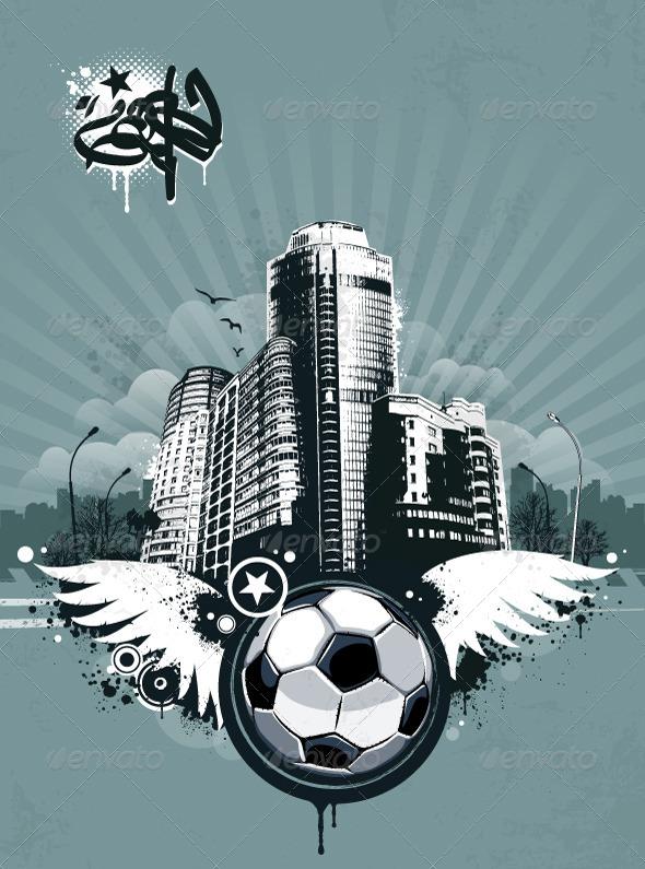 GraphicRiver Grunge Urban Soccer Background 4073650