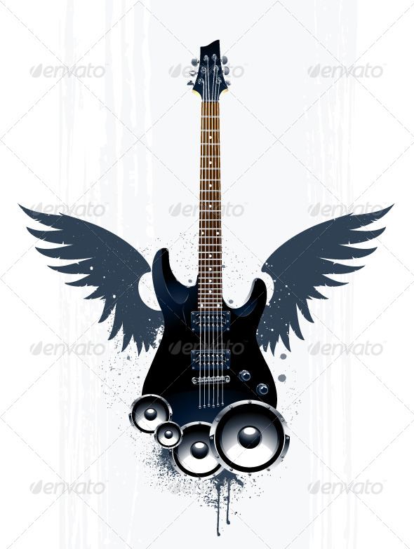GraphicRiver Black Guitar with Speakers 4073676
