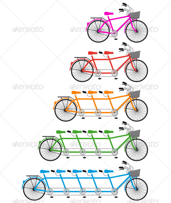 GraphicRiver Tandem Bicycle Team bike Set Vector 4073759