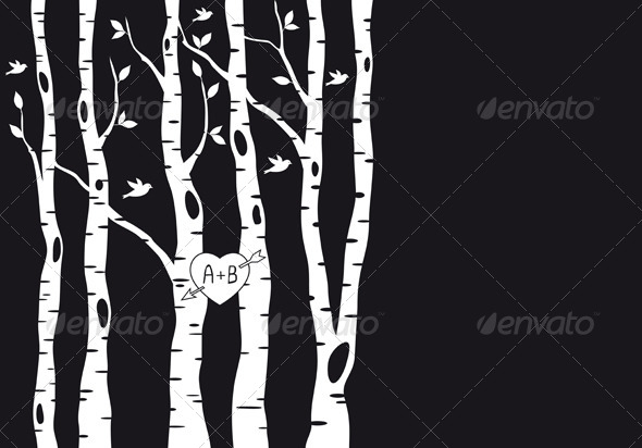 GraphicRiver Wedding Invitation with Birch Trees Vector 4073763