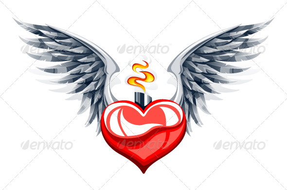 GraphicRiver Glossy Heart with Wings 4073781