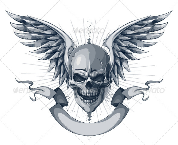 GraphicRiver Skull with Wings and Ribbon 4075659