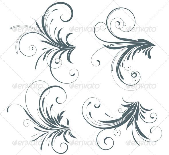 GraphicRiver Floral Decorative Elements 4077430