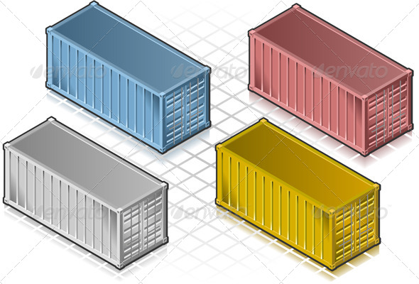 GraphicRiver Isometric Container in Various Colors 4081573