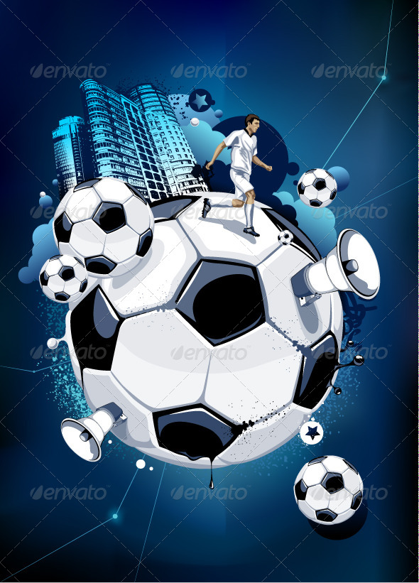 GraphicRiver Soccer Balls and Urban Elements 4082440