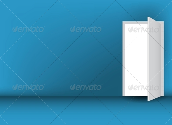 GraphicRiver Open White Door on a Green Wall 4083809
