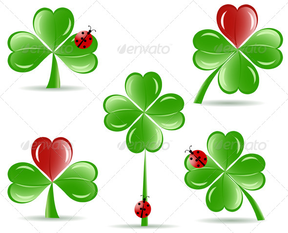 GraphicRiver Shamrocks with Four Lucky Leaves 4084337