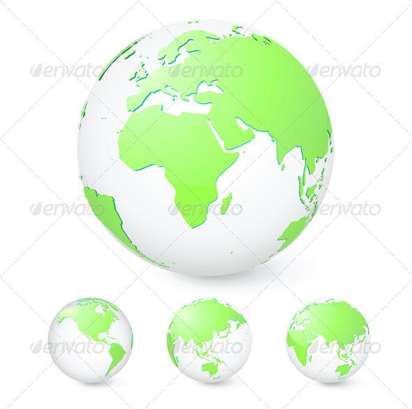 GraphicRiver Green Globes Set 4086417