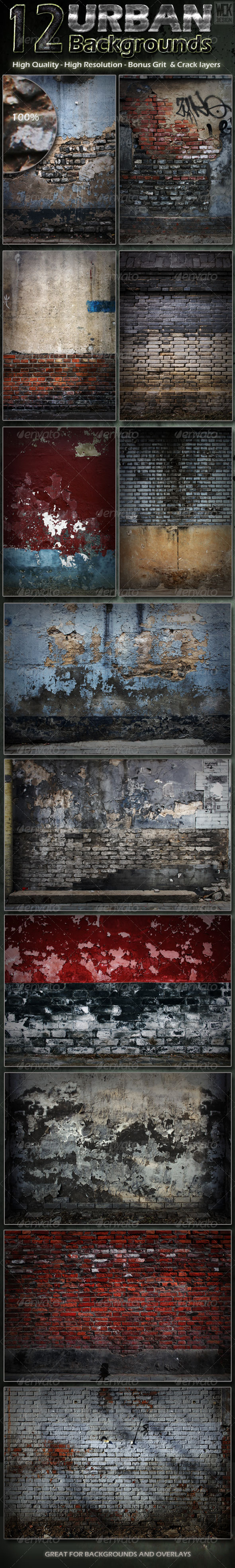 GraphicRiver 12 Distressed Urban Backgrounds 4087407