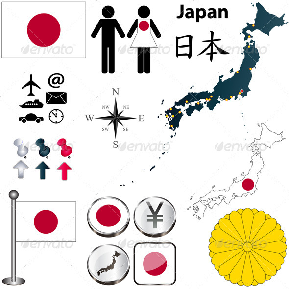 GraphicRiver Japan Map and Elements 4094660