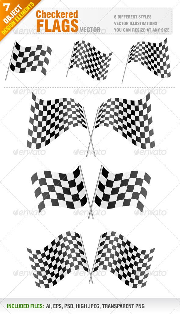 GraphicRiver Checkered Flags Set 4098583