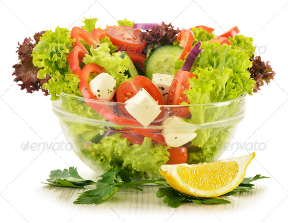 PhotoDune Vegetable salad bowl isolated on white 4101972