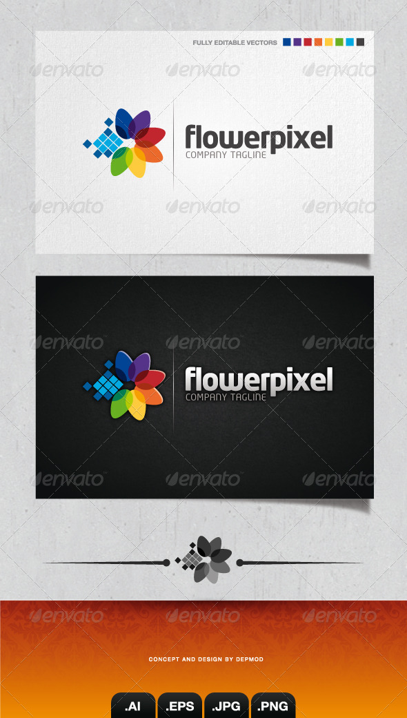 GraphicRiver Flower Pixel Logo 4104737