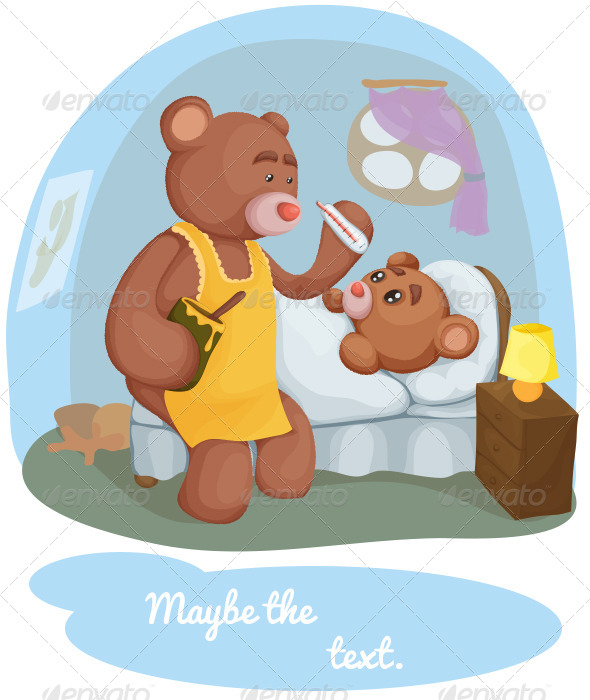 GraphicRiver Sick Teddy Bear With Her Mother 4109971