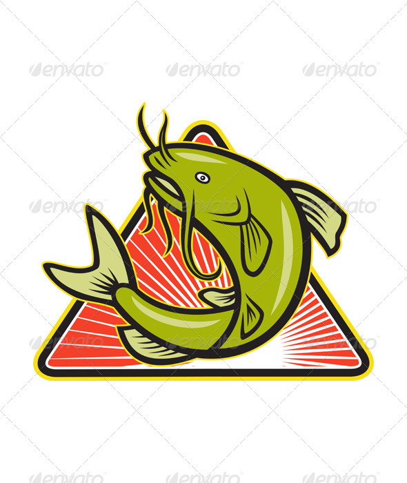 GraphicRiver Catfish Fish Jumping Cartoon 4110102