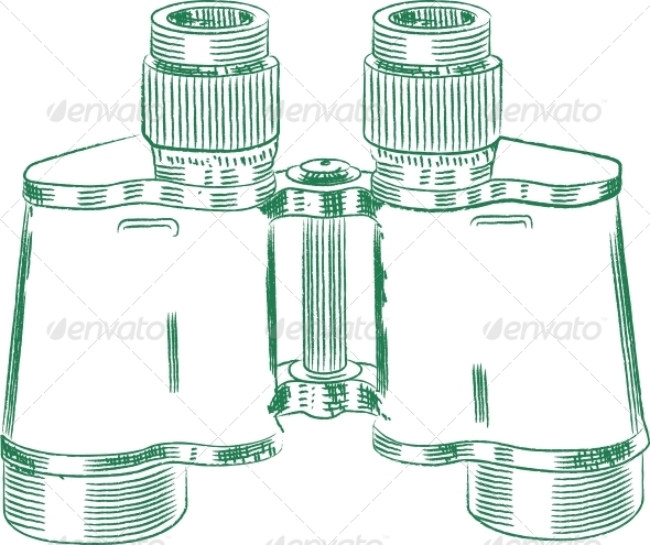 GraphicRiver Vintage Binocular Technical Drawing 4110770