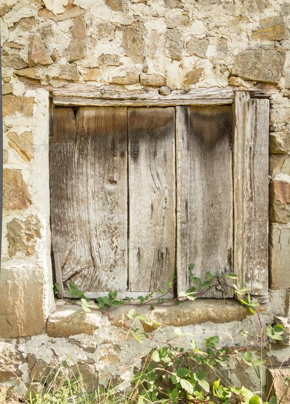 PhotoDune Vintage old wooden gate closed 4112104
