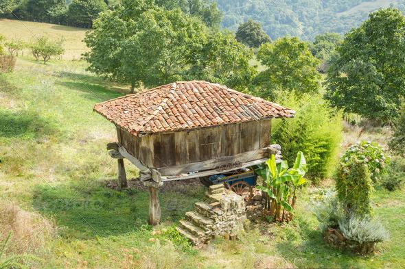 PhotoDune Granary of Asturias raised by pillars and known as horreo 4112106