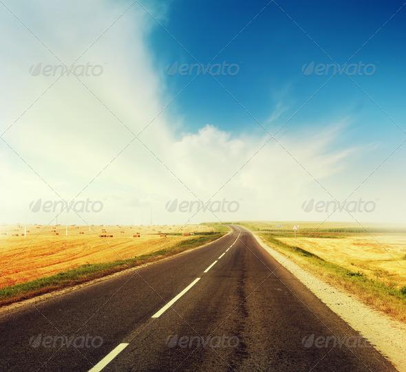 PhotoDune Road across the field 4112131