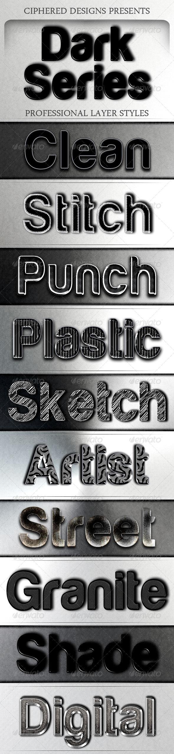 GraphicRiver Dark Series Professional Layer Styles 4126034