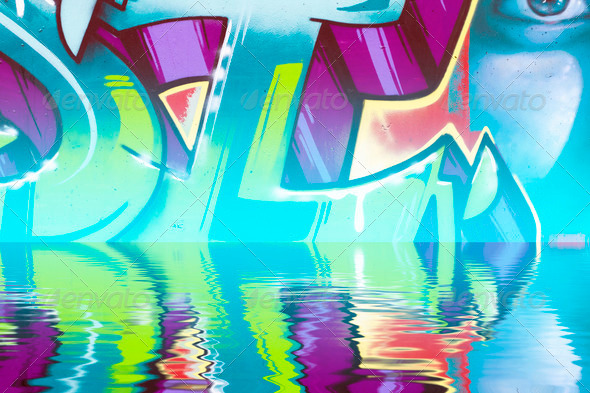 PhotoDune Abstract colorful graffiti reflection in the water 4132735