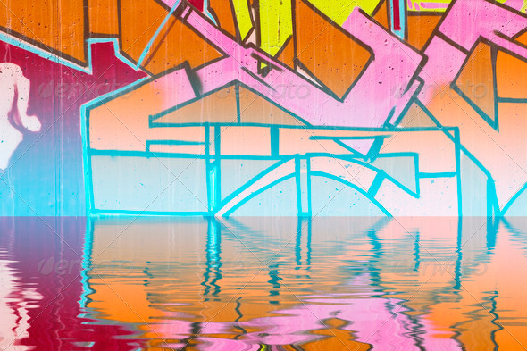 PhotoDune colorful graffiti wall with reflection in water 4132738