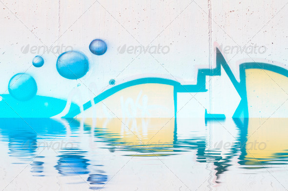 PhotoDune Abstract colorful graffiti reflection in the water 4133019
