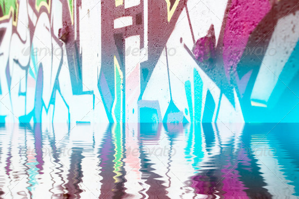 PhotoDune Abstract colorful graffiti reflection in the water 4133021