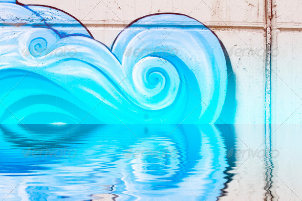 PhotoDune Graffiti reflection in the water artistic clouds 4133025
