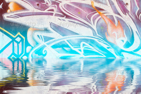 PhotoDune Abstract colorful graffiti reflection in the water 4133027