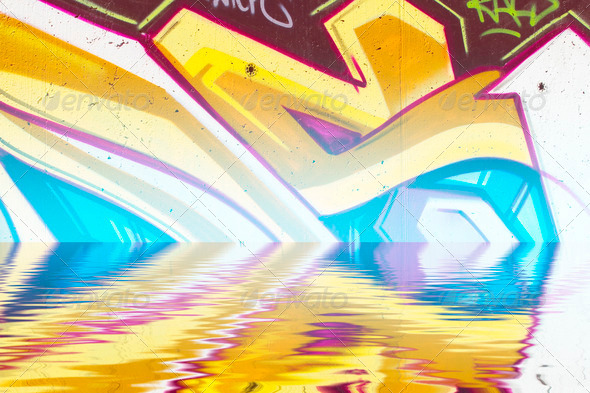 PhotoDune Graffiti reflection in the water artistic chrome letters 4133039