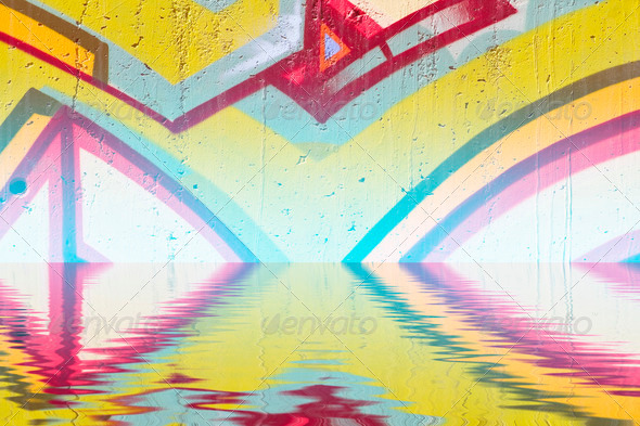 PhotoDune Abstract colorful graffiti reflection in the water 4133041