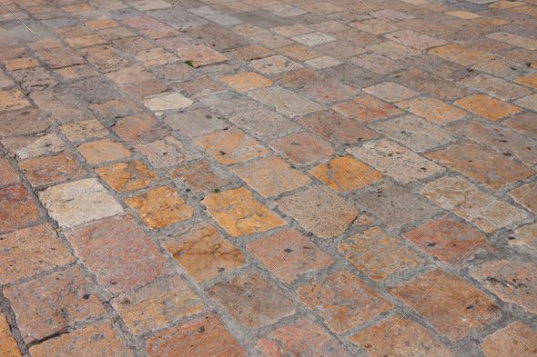 PhotoDune Vintage old stone paved avenue street road 4152524