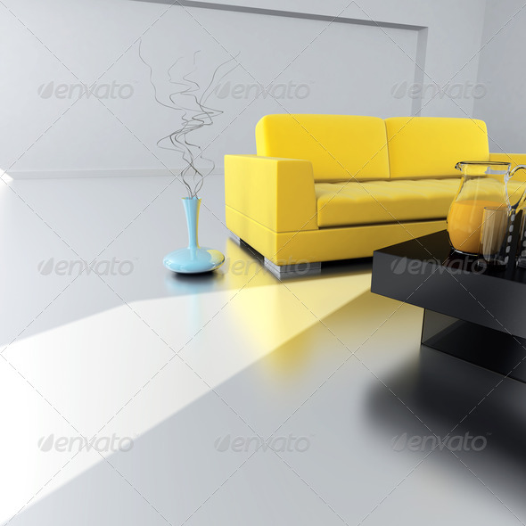 PhotoDune yellow sofa is in an empty light room 4141337